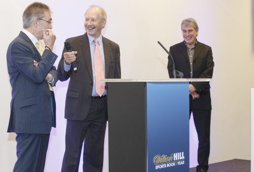 John Gaustad, centre, at the Sports Book of the Year presentations, alongside Graham Sharpe, left, and John Inverdale. Photo courtesy of William Hill