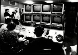 The international broadcast control room for the 1966 World Cup at BBC Television Centre