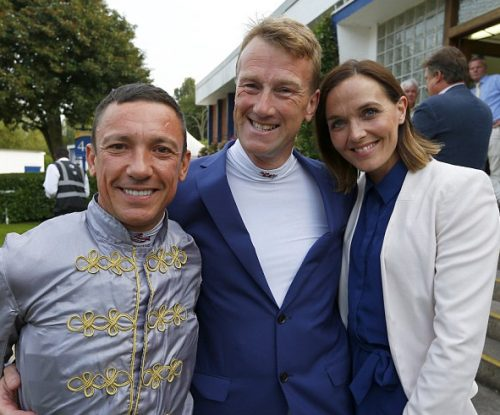 Marcus Townsend, centre, with Frankie Dettori and Victoria Pendleton at Windsor races