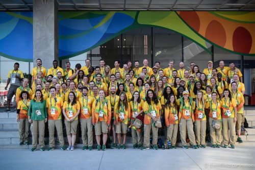 Spot your colleague: the Rio Olympic News Service team, decked out in their Games-time uniforms, and including one or two British sports journnalists