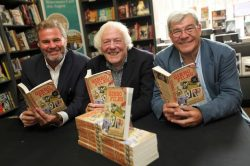 John Gibson, centre, at the launch of his memoir with Malcolm Macdonald, right, and Glenn McCrory. Pic: The Chronicle