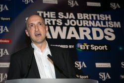 Matthew Syed collecting one of his six SJA Sports Journalism Awards