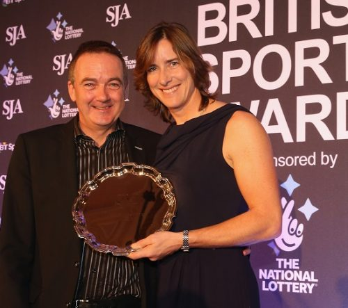 LONDON, ENGLAND - DECEMBER 17:  Katherine Grainger receives her National Lottery Spirit of Sport Award during the SJA British Sports Awards 2015 at Grand Connaught Rooms on December 17, 2015 in London, England.  (Photo by Andrew Redington/Getty Images) *** Local Caption *** Katherine Grainger