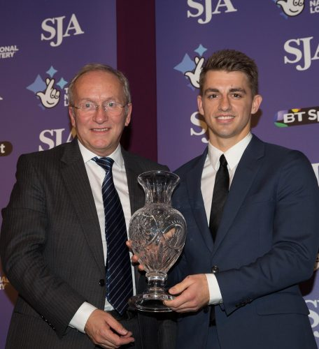 After two Olympic gold medals in an hour in Rio, gymnast Max Whitock received the SJA Committee Award from past chairman David Walker, sports editor of the Daily Mirror