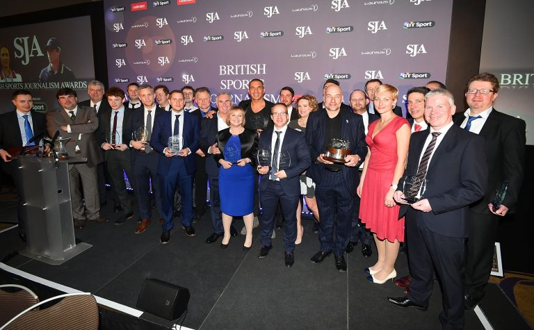 LONDON, ENGLAND - MARCH 23: Winners pose for photographs during the SJA British Sports Journalism Awards at Grand Connaught Rooms on March 23, 2015 in London, England. (Photo by Tom Dulat/Getty Images)