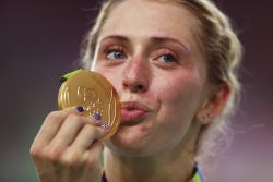 Golden kiss: Laura Kenny won two golds in Rio and was named today the Sportwoman of the Year. Photo by Bryn Lennon/Getty Images
