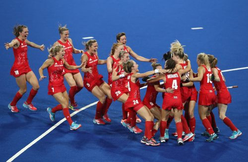 Golden celebration: Britain's women hockey team were triumphant in Rio, and today at the Tower of London. Photo by Mark Kolbe/Getty Images)